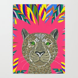 Animal lovers leopard / Hand drawn leopard // bright leaves // neon colours // Poster