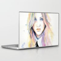 college Laptop & iPad Skins featuring College girl by Cora-Tiana