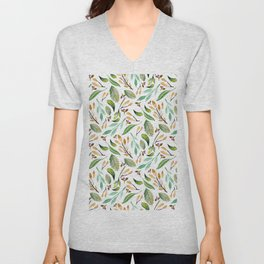 Botanical hand painted watercolor forest green brown foliage Unisex V-Neck