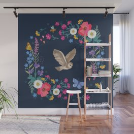 Owl and Wildflowers Wall Mural