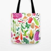 oana befort Tote Bags featuring VEGGIES by Oana Befort