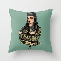 grimes Throw Pillows featuring Grimes by Jamie Luna