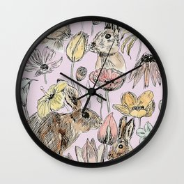 rabbits and flowers with color Wall Clock