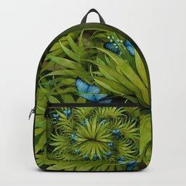 """El Bosco fantasy, tropical island blue butterflies"" Backpack"