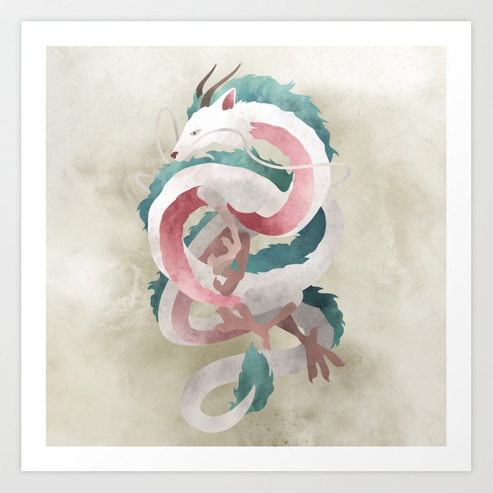 Spirited away - Haku Dragon illustration - Miyazaki, Studio Ghibli Kunstdrucke