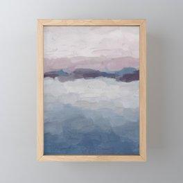 Plum Purple Lavender Blue Abstract Painting Ocean Waves Cloud Horizon, Modern Wall Art, Digital Framed Mini Art Print