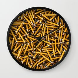Pencil it in / 3D render of hundreds of yellow pencils Wall Clock