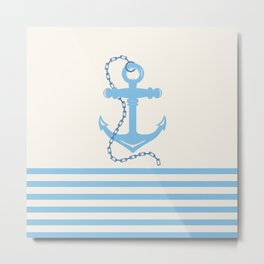AFE Baby Blue Anchor & Chain Metal Print