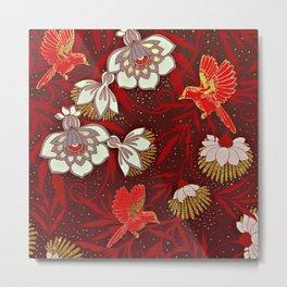 Burgundy Red Gold Bird Flowers Glitter Metal Print