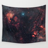 constellation Wall Tapestries featuring Cygnus Constellation by Space99