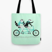 cycling Tote Bags featuring Cycling Raccoons by smalltalkstudio