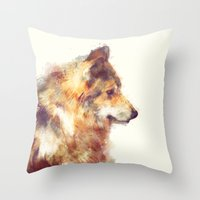 wolf Throw Pillows featuring Wolf // True by Amy Hamilton