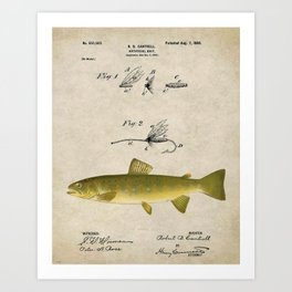 Vintage Brown Trout Fly Fishing Lure Patent Game Fish Identification Chart Art Print