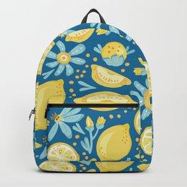 Lemon Pattern Blue Backpack