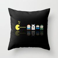 tintin Throw Pillows featuring Pacman with Tintin Ghosts by NicoWriter