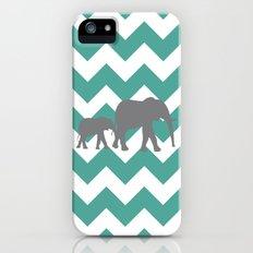 Chevron Elephants (teal and grey) Slim Case iPhone (5, 5s)