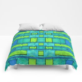 Painted blue and green parallel bars Comforters