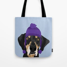 Purple hat Black and Tan Coonhound Tote Bag