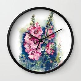 Watercolor Hollyhocks pink flowers Wall Clock