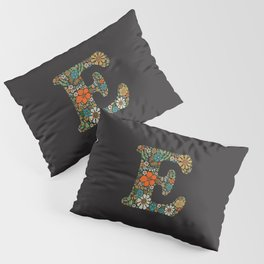 Hippie Floral Letter E Pillow Sham