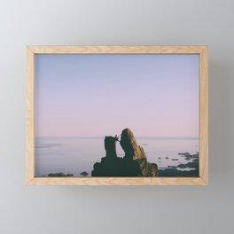 Climber on the rock Framed Mini Art Print