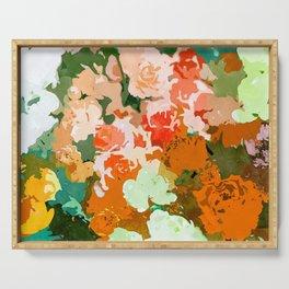 Velvet Floral, Summer Eclectic Botanical Blossom Blush Painting, Nature Colorful Garden Illustration Serving Tray