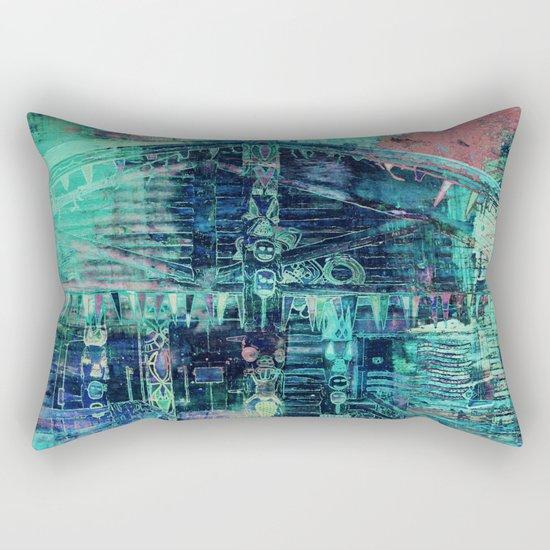 Totem Cabin Abstract - Teal Rectangular Pillow