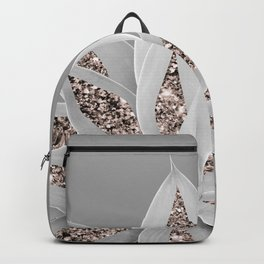 Gray Agave with Rose Gold Glitter #1 #shiny #tropical #decor #art #society6 Backpack