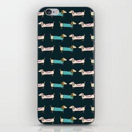Cute dachshunds in dark blue iPhone Skin
