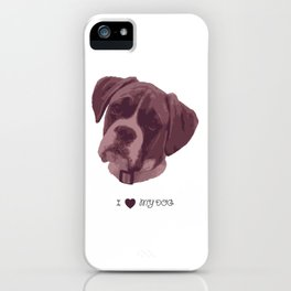 I love my dog - Boxer, pink iPhone Case