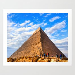Dwarfed By History - Standing Before An Egyptian Pyramid Art Print