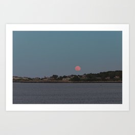 Full Strawberry Moon Rising over Rockport Art Print