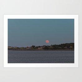 Full Strawberry Moon Rising over Rockport Art Print