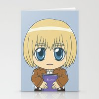 shingeki no kyojin Stationery Cards featuring Shingeki no Kyojin - Chibi Armin Flats by Tenki Incorporated