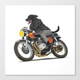 Labrador Riding Motorcycle Canvas Print