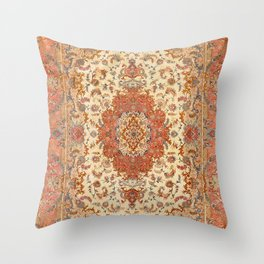 Persia Tabriz 19th Century Authentic Colorful Dusty Tan Red Blush Vintage Patterns Throw Pillow