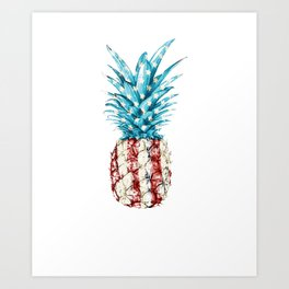 AMERICA PATRIOTIC 4TH OF JULY graphicS PINEAPPLE AMERICAN FLAG design Art Print