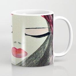 Shy Girl. Abstract Pink Girl. Pink Lips. Pink Hair. Jodilynpaintings. Eyelashes. Gift for All Girls. Coffee Mug