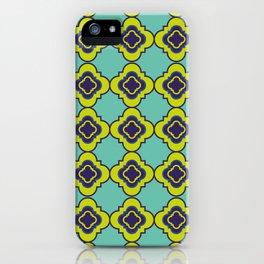 Quatrefoil - mint and blue iPhone Case