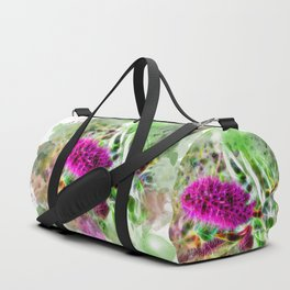 Vibrant abstract pink flower on white Duffle Bag