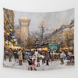 Paris Porte Saint-Denis, Paris, France by Eugene Lalien Laloue Wall Tapestry