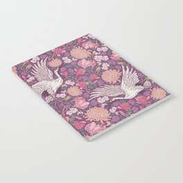 Cranes with chrysanthemums and pink magnolia on purple background Notebook