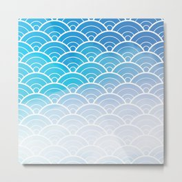 Blue Ombre Japanese Waves Pattern Metal Print