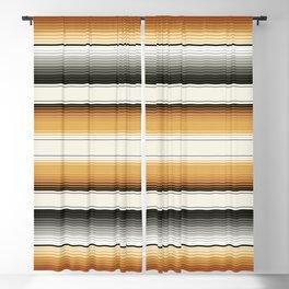 Navajo White, Gray, Black and Amber Brown Southwest Serape Blanket Stripes Blackout Curtain