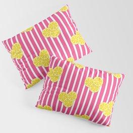 Lemon Slices on Hot Pink Stripes Pillow Sham