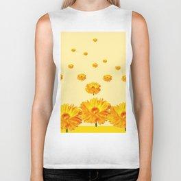 FLOATING GOLDEN FLOWERS YELLOW COLLAGE Biker Tank