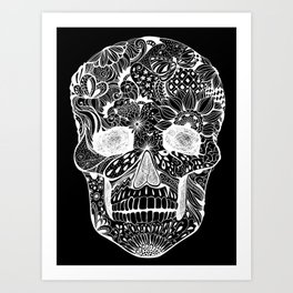 Human skull with hand- drawn flowers, butterflies, floral and geometrical patterns Art Print