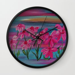 Pink Gerbera Daisies on Burlap Wall Clock