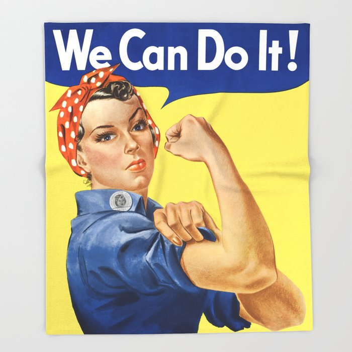 We Can Do It Rosie The Riveter Poster Throw Blanket By