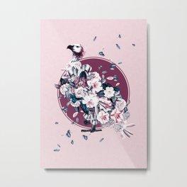 Vulture and Floral Metal Print